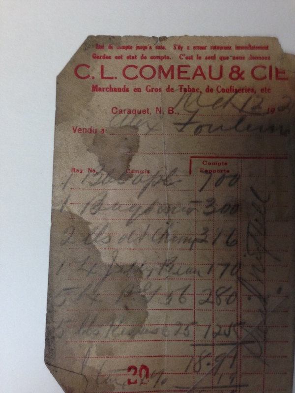 Old CL Comeau invoices