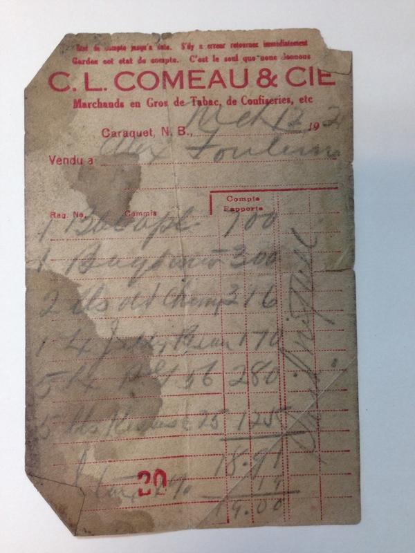 Factures anciennes de CL Comeau
