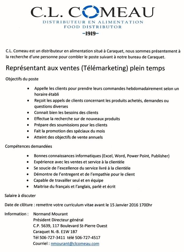 Offre d'emploi : représentant aux ventes